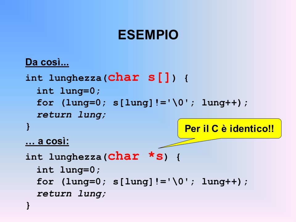 ESEMPIO Da così... int lunghezza(char s[]) { int lung=0;